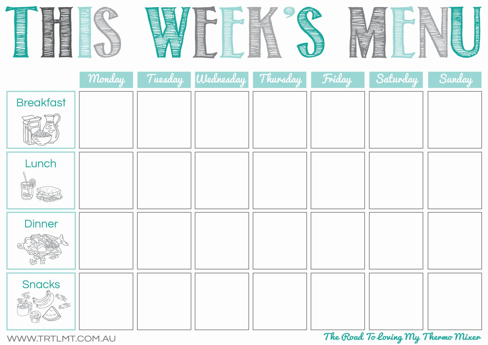 This is a photo of Comprehensive Printable Weekly Menu